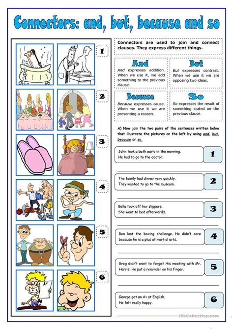 and so but because worksheets connectors and but because so worksheet free esl printable worksheets made by teachers