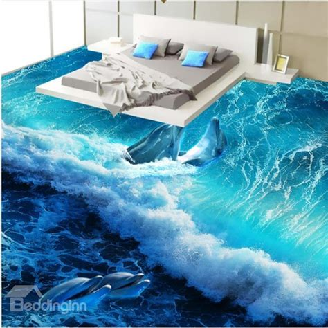 3d floors wonderful design happy dolphins playing in the sea wave
