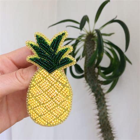 beadwork brooch unique brooch pineapple beadwork jewelry fruit brooch