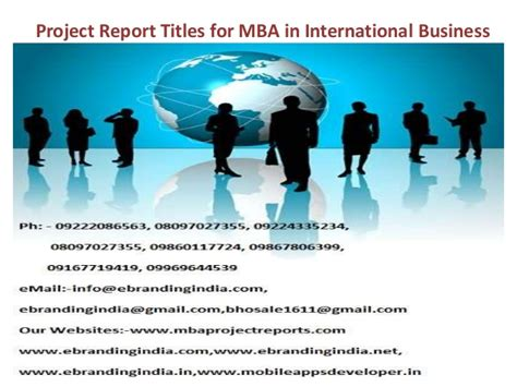 Mba Getting A In Business by Project Report Titles For Mba In International Business
