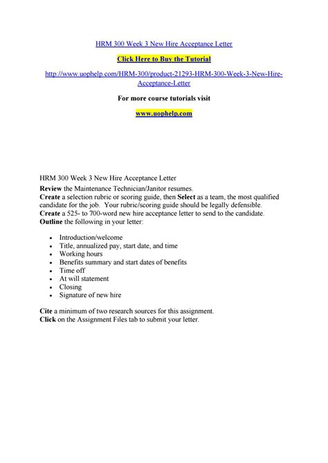 Acceptance Letter For New Hire Hrm 300 Week 3 New Hire Acceptance Letter By Bluebell795 Issuu