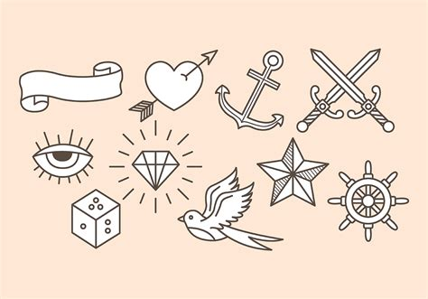 tattoo icons school icons free vector stock