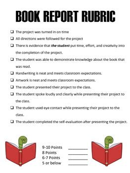 elementary school book report book report rubric elementary school by ring around the