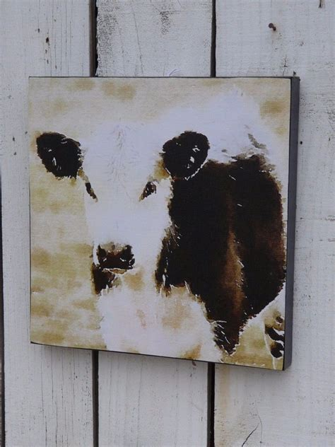 cow home decor black white cow farm animal canvas wall picture