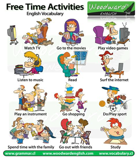 free time activities leisure vocabulary