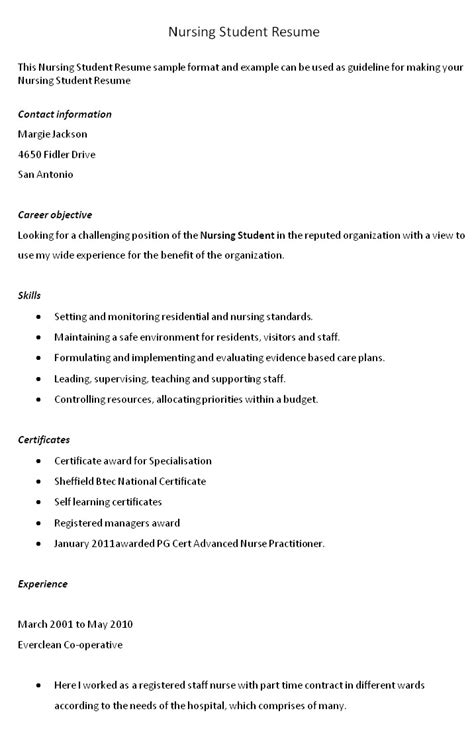 Nursing Student Resume Exles by Nursing Student Resume Template Word Resume And Cover