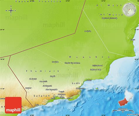 physical map of oman physical map of dhofar
