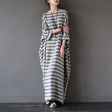Striped Oversized Dress Size Mlxl 1 extravagant stripe dress cotton linen oversize maxi dress