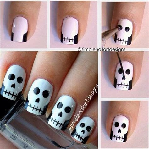 Halloween Nail Art Tutorial Skulls | 20 step by step halloween nail art design tutorials 2017