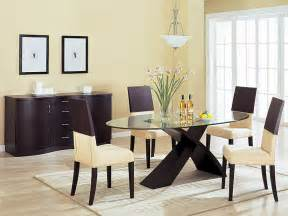 modern dining room with wooden table set and chest