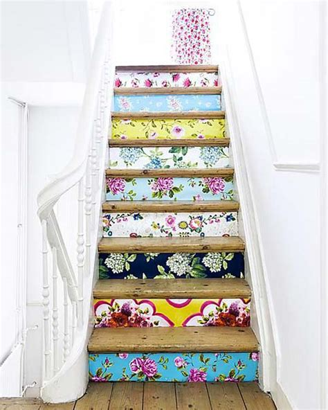 Stair Riser Decor by 20 Diy Wallpapered Stair Risers Ideas To Give Stairs Some