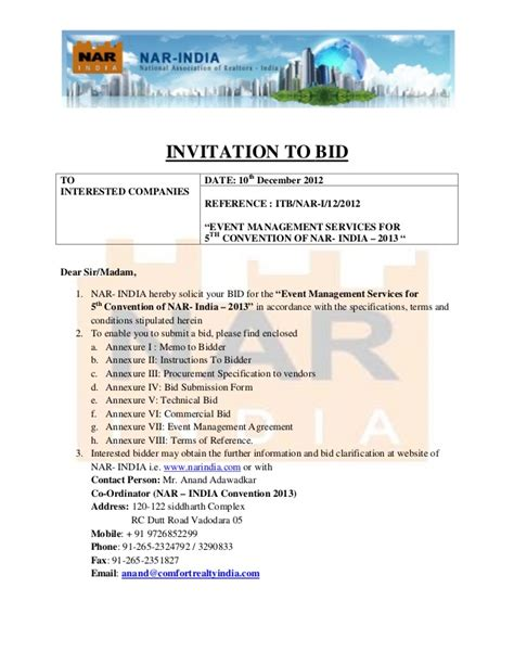 Invitation To Bid For Fifth Convention Of Nar India Invitation To Bid Construction Template