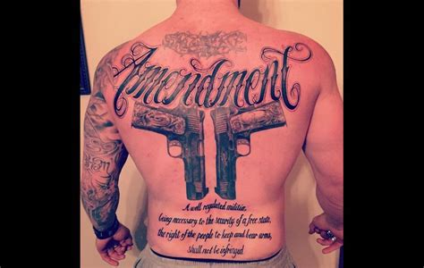 photo brantley gilbert tattoos 2nd amendment on back
