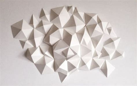 Geometric Paper Folding Patterns - geometric polygonal wall sculpture 2 grey sprays and