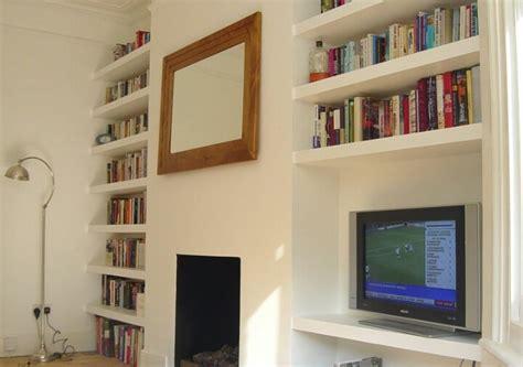 alcove floating shelves flat carpentry