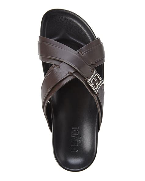 fendi sandals mens fendi brown cross slide sandals in brown for lyst