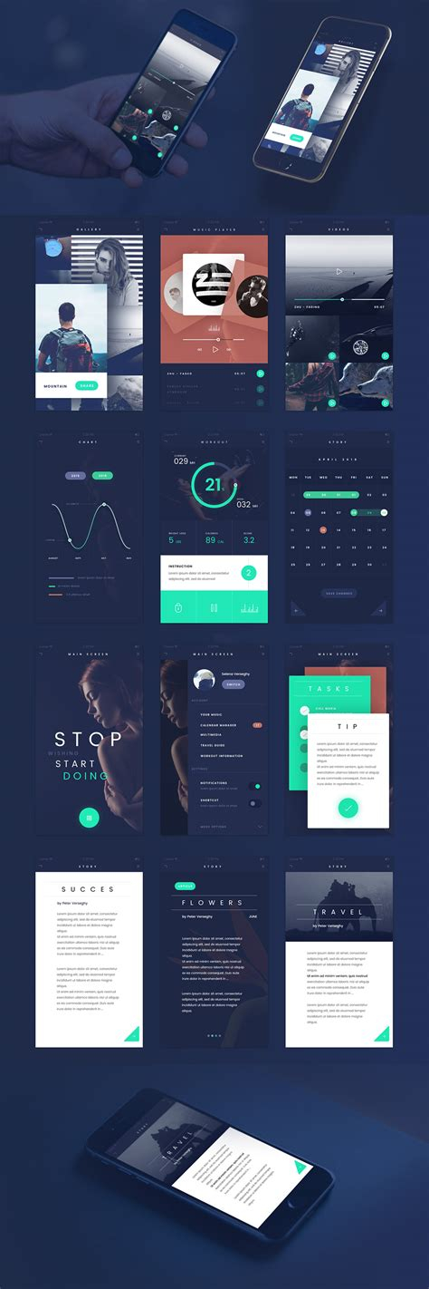app design kit dark blue flat style free mobile app ui kit psd download