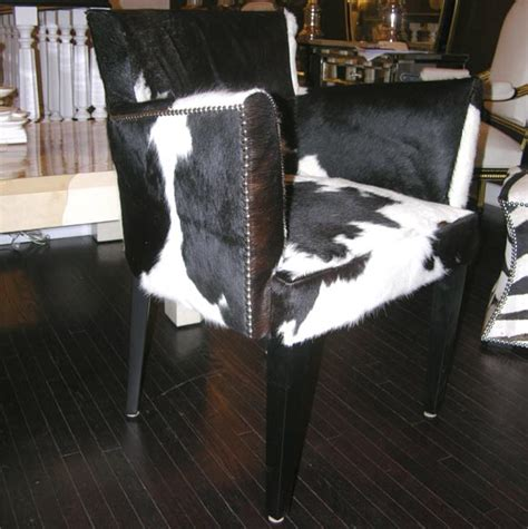 Cowhide Sofa Sale by Pair Of Custom Black And White Spotted Cowhide Deco Chairs