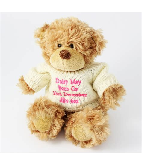 personalised pink tatty teddy message bear just for gifts