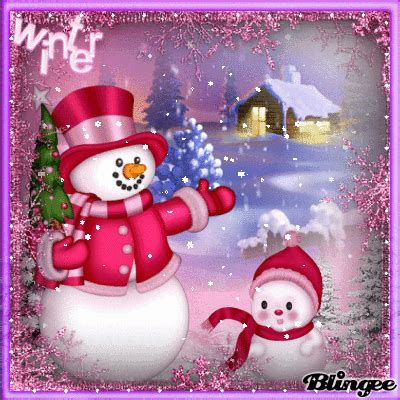 pink snowmen  winter merry christmas gif merry christmas animation purple christmas