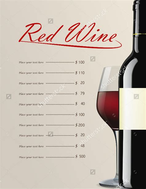 wine list templates 26 wine menu templates free sle exle format