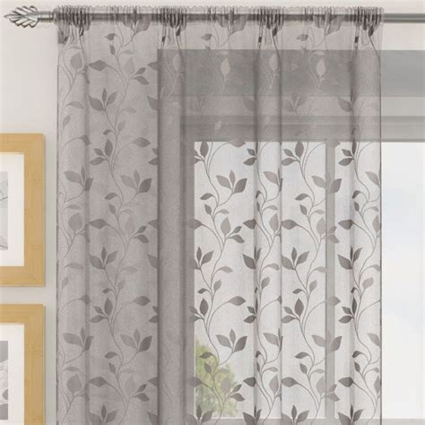 silver grey voile curtains evie floral voile curtain panel grey tonys textiles