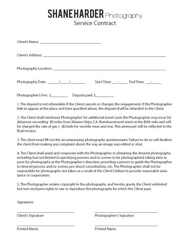 photography contracts free printable documents