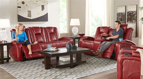 kingvale power reclining sofa kingvale red 2 pc power reclining living room living