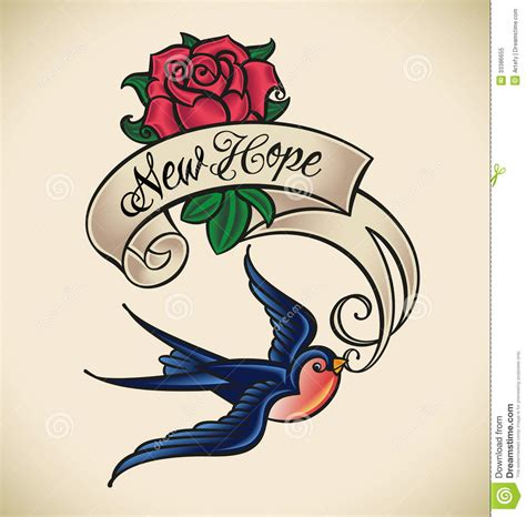 new school tattoo vector swallow brings new hope stock vector illustration of