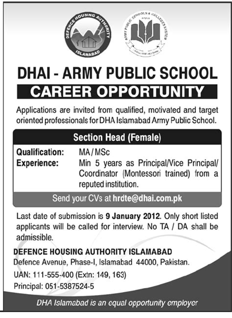 Ta Housing Authority by Dhai Army School Islamabad Required Section In Islamabad Jang On 01 Jan
