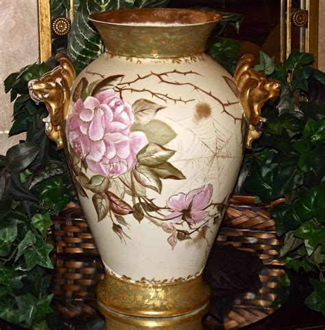 Limoges Vase Value by Limoges Vase Handles Spider Webs And Pink