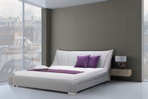 upholstered bed king size furniture bedroom grey