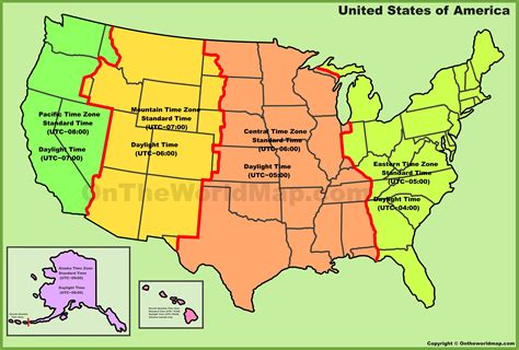 usa time zone with map usa time zone map