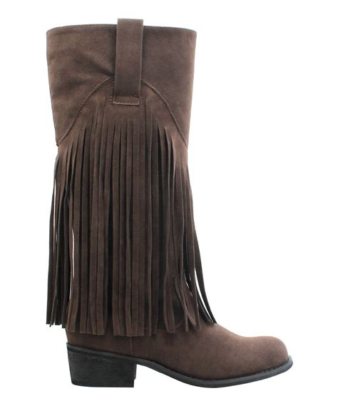 miller brown fringe liberty knee high boot