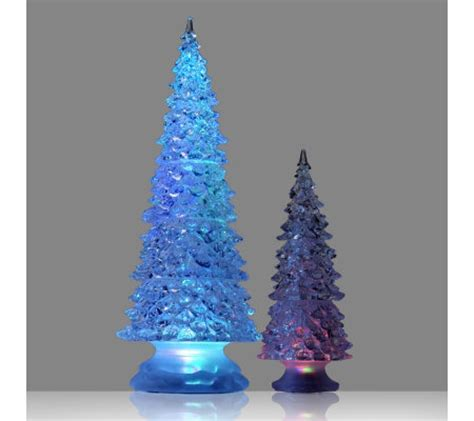 set of 2 led colour change christmas tree ornaments qvc uk