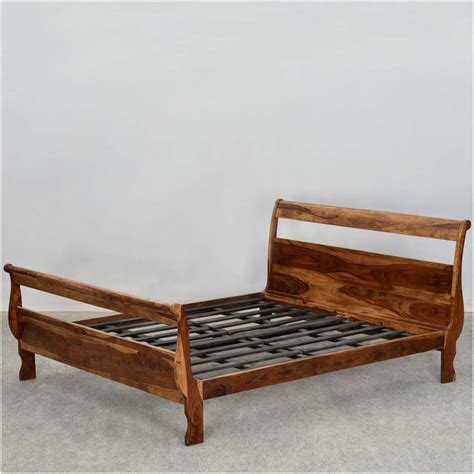 open slat sleigh style solid wood size platform bed frame