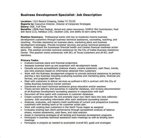 business development description 10 business development description templates free