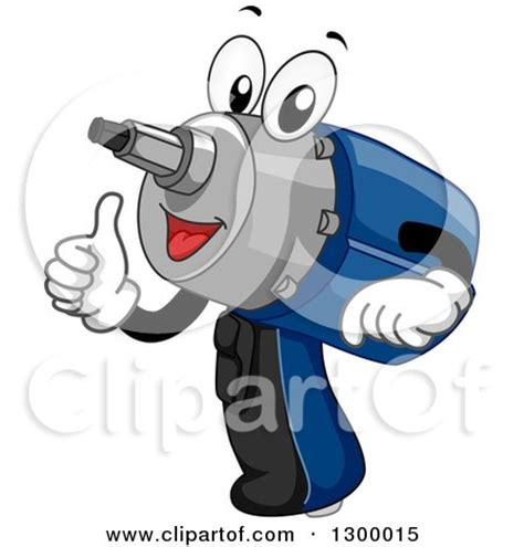 design drill flower power studio clipart of a cartoon power drill impact wrench giving a