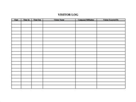 visitors log template free word templates