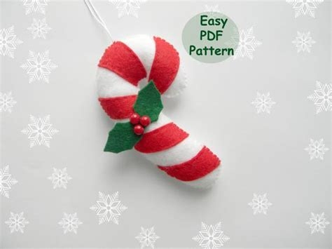 pattern candy cane easy christmas ornaments pattern felt