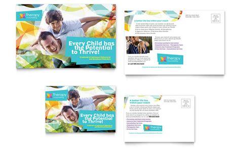 post card designs templates adolescent counseling postcard template design