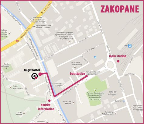 printable map of zakopane target hostel zakopane zakopane online map zakopane