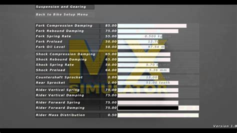 motocross bike setup mx simulator bike controll stability setup