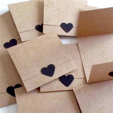 Thank You Note For Handmade Gift - brown kraft mini note cards tri fold mini cards set of 10