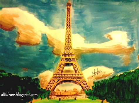 eiffel tower painting my sketchbook allidraw sketches by maninder