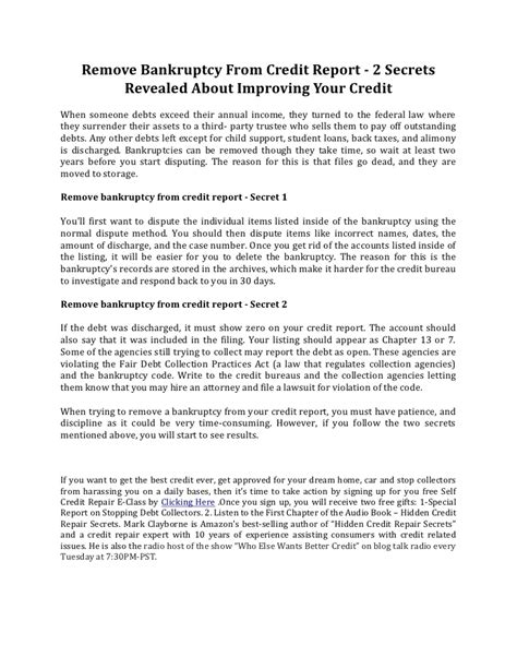 Removal Letter Of Credit Remove Bankruptcy From Credit Report 2 Secrets Revealed