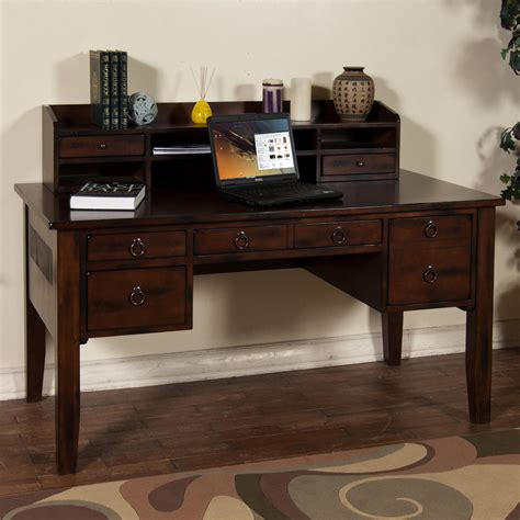 desk with hutch and drawers sunny designs santa fe writing desk with keyboard