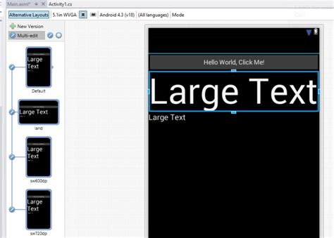 xamarin layout editor multi view edit with the xamarin android designer