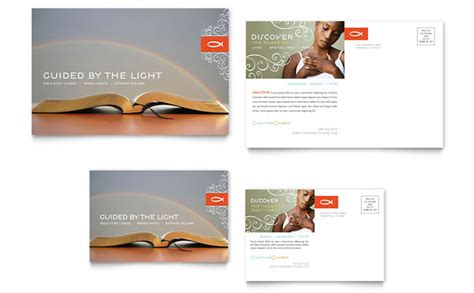 Christian Church Religious Postcard Template Design Church Postcard Template