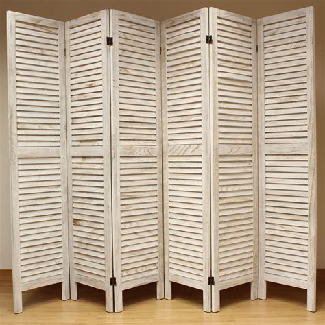 Cream 6 Panel Wooden Slat Room Divider Home Privacy Screen Panel Room Dividers